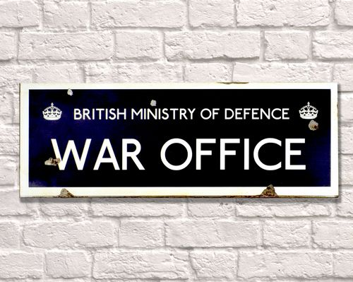 British Ministry War Office Rusty Metal Sign 20cm x 56cm